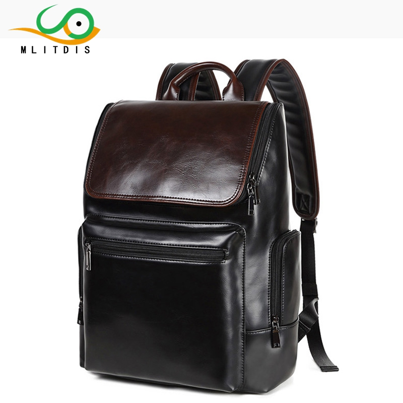 MLITDIS male students PU leather backpack/Japan and Korean Men's College Wind backpac/large panelled color leisure schoolbag point systems migration policy and international students flow