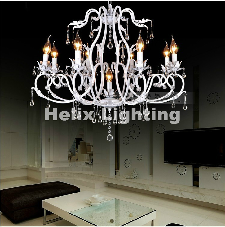 Free Shipping Hot SaleContinental Crystal Candle Lamp Vintage Wrought Iron Chandelier bedroom dining-room lamp lighting lamps free shipping candle lamp wrought iron restaurant bedroom chandeliers rural white candle wrought iron pendant led lights