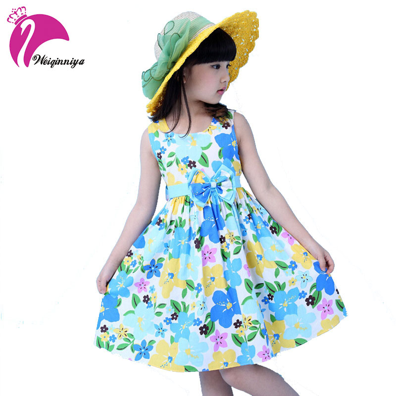 New Pastorale Style 2016 Girls Dress Summer Floral Cotton Sleeveless Flower Kids Princess Dresses Girl Party Lovely Clothes  new summer girls dress o neck floral pattern mini lovely princess dresses girl party clothing