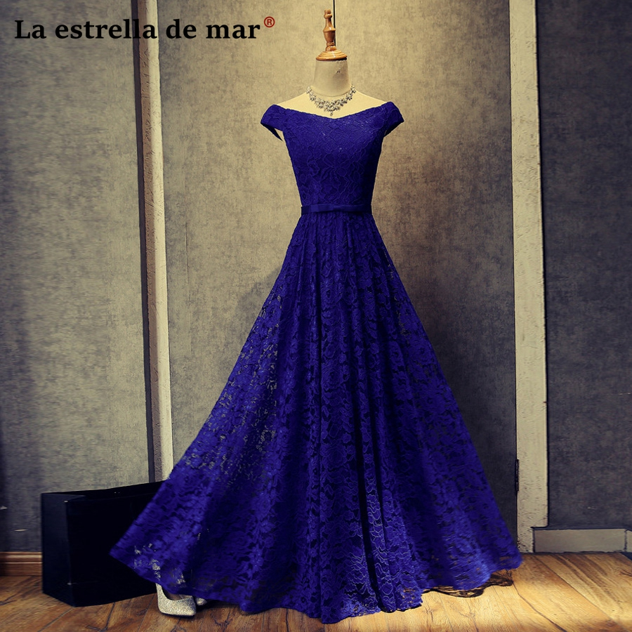 vestido madrinha new lace Boat Neck short sleeve a Line royal blue burgundy   bridesmaid     dresses   long robe demoiselle d'honneur