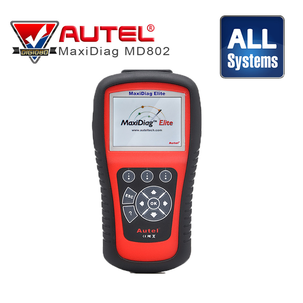 100% Originele auto code reader AUTEL MaxiDiag Elite MD802 Alle systeem + DS model MD 802 PRO (MD701 + MD702 + MD703 + MD704)