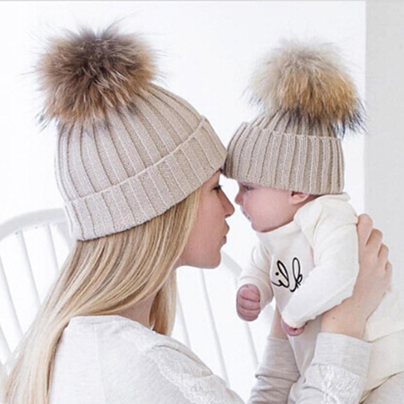 Mom and Baby Lovely Winter Kids Knitted Pompom Faux Raccoon Fur Hats Beanie  Cap Mom Baby Kids Children Matching Winter Hats Cap b71d90692f3