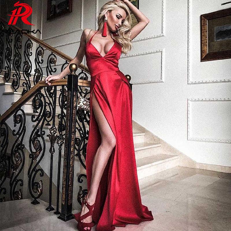 54c350a6105 Пикантные красные длинное платье Для женщин befree высокое Разделение V шеи  Платья для вечеринок летние высококачественные