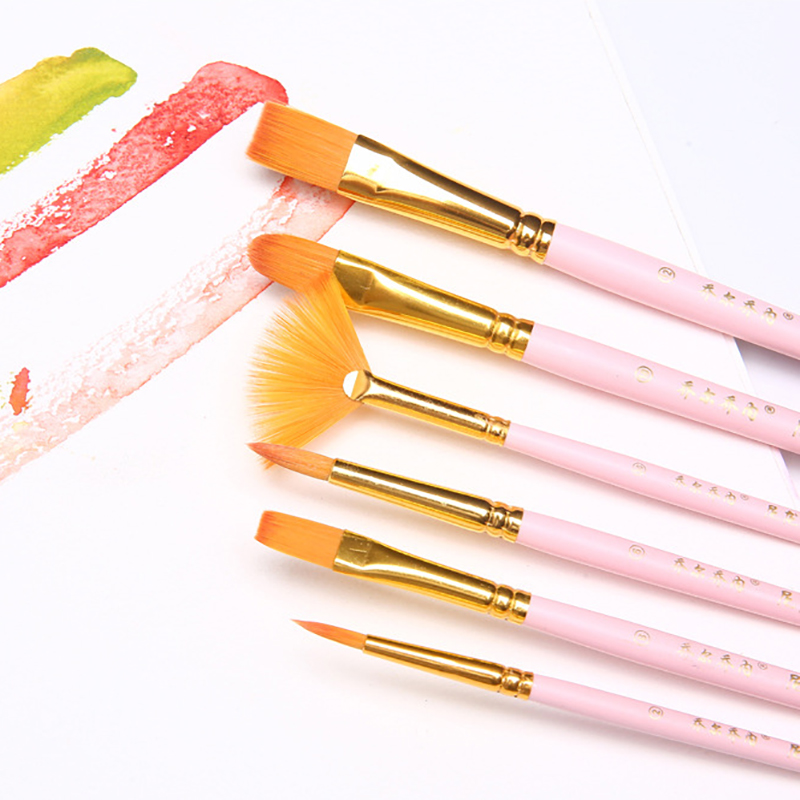 10 Pcs Pearlescent Blue Wood Pole Watercolor Paint Brush Suite Nylon Hair Brushes Oil Brushes Student Art Supplies