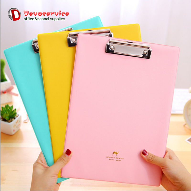 A4 A5 Candy Color Multifunction Pu Folder File Clipboard Plywood Student Writing Pad Clips Board Organizer For School & Office