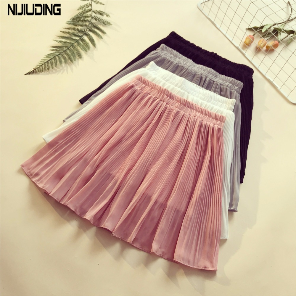 2018 New Summer Women Chiffon Skirts Female Solid Sexy Mini Skirts Casual Empire High Waist Pleated Lining Opacity Cloth Skirt