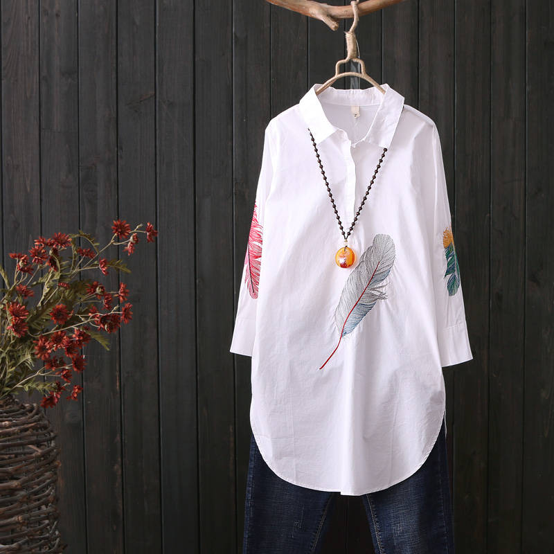 100% Cotton Plus size Feather Embroidery White Long   Blouse   Women 3/4 Sleeve Art Loose White   Blouses   and Tops Button Down   Shirts