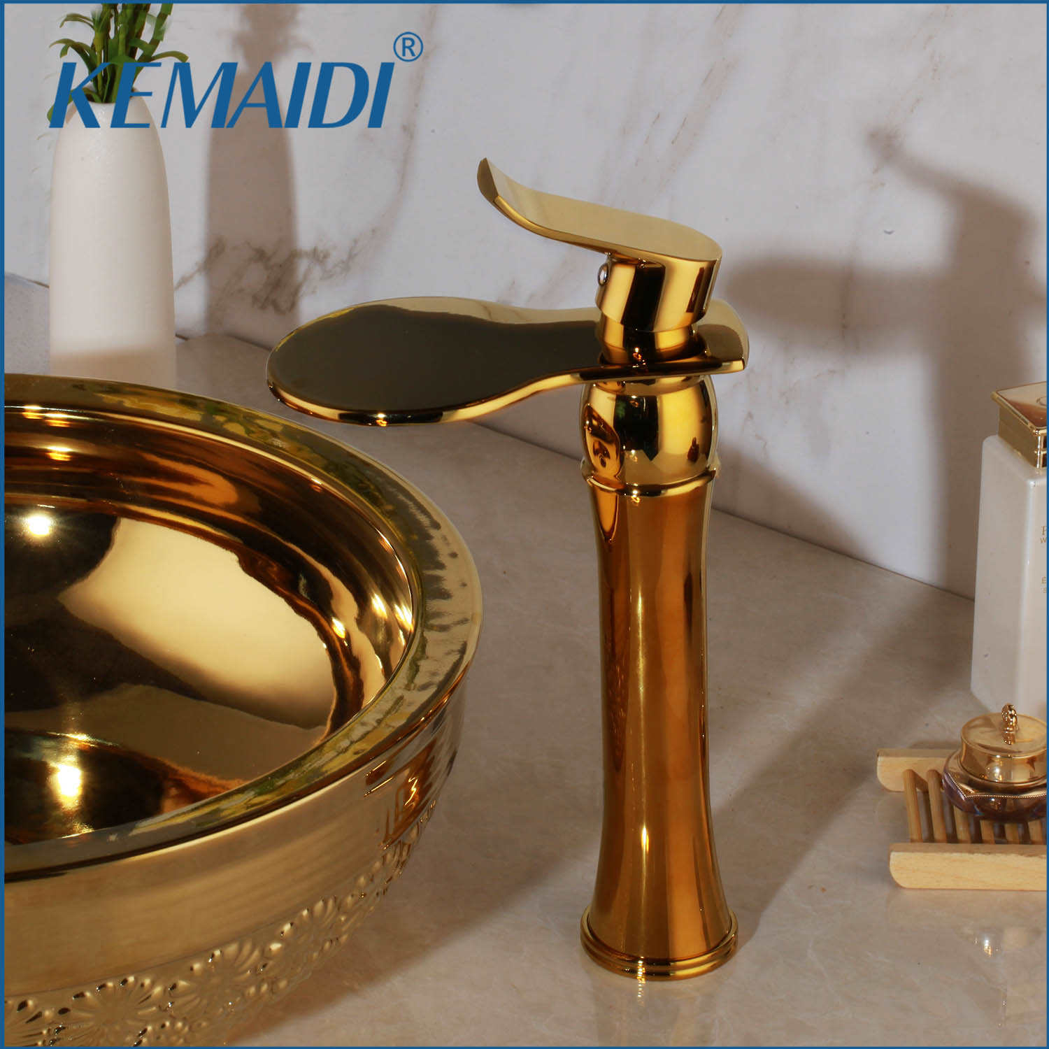 KEMAIDI  Luxury Tall Single Hole/Handle Polished Golden Wide Waterfall Spout Bathroom Wash Basin Sink Mixer Tap FaucetKEMAIDI  Luxury Tall Single Hole/Handle Polished Golden Wide Waterfall Spout Bathroom Wash Basin Sink Mixer Tap Faucet