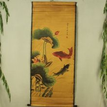 China Antique collection Boutique Calligraphy and painting the Two fish diagram
