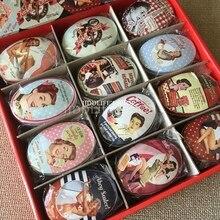 24 unid/caja pequeña caja de almacenamiento de Vintage Impresión de forma ovalada caja de dulces de caramelo jabón hecho a mano caso Mini caja de metal para bisutería pequeña píldora caso