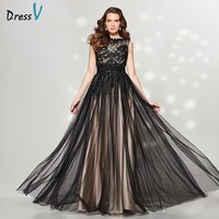 Vestidos 2016 Vintage Black Evening Dresses Long A Line Jewel Sleeveless Lace Elegent Formal Dresses Dubai
