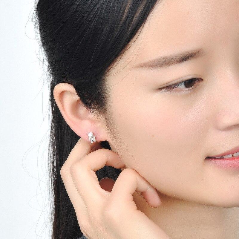 S925 Sterling Silver Butterfly Single Diamond Earrings Fashion OL Zircon Korean Earrings Jewelry