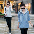 Plus Size M-4XL Women Hooded Denim Jacket Light Blue Jeans Coat Fake Two Pieces P4185