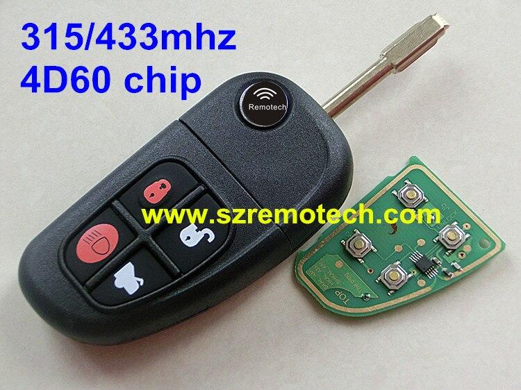 Prix pour À distance De Voiture Key Case Shell 4 Boutons avec Lame Non Coupée 433 MHz Transpondeur Puce ID60 Fit Pour Jaguar XJ Type