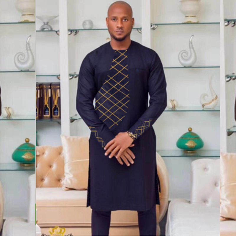 african clothes for men dress Cotton african dress dashiki embroidery african men clothes africa mens outfit tops pants set 2pcs Одежда