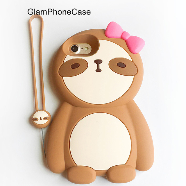 half off 305d5 4f753 US $5.88 |GlamPhoneCase 3D Silicone Cute lovely Sloth Phone Case For iPhone  7 7plus 6 6plus 6S 6S plus Soft Brown Animal Back Cover Case -in Fitted ...