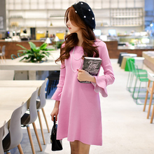dabuwawa long-sleeved dress 2017 spring big sizes fashion casual slim midi knit sweater dresses women pink doll