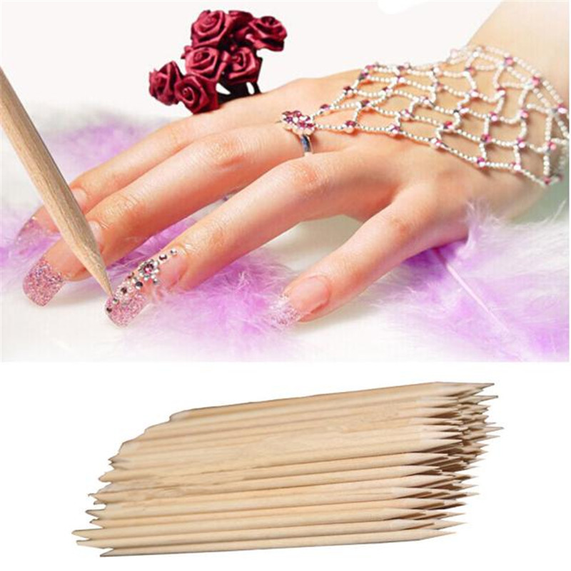 Hot! New 100pcs/set Orange Women Lady Wood Double-end Nail Art Wood Stick Cuticle Pusher Remover Pedicure Manicure Tool se11