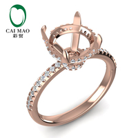 Caimao 9mm Round Cut 14k Rose Gold 0.35ct Natural Full Cut Diamond Ring Claw Prongs
