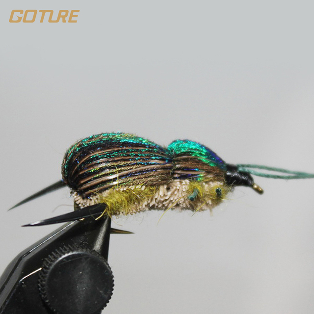 Goture Fly Fishing Lure Bait Beetle Dry Flies Insect for Carp Bass Salmon Fishing with Mustard Hook 6# 2pcs/Lot