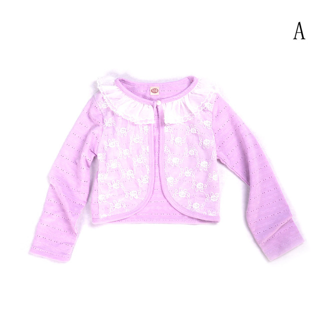 Cotton Polyester Thin Long Sleeve Kid Girl Summer Lace Cardigan
