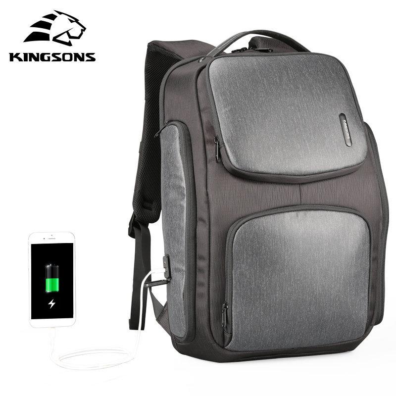 Kingsons Upgraded Solar Backpack Fast USB Charging Kanpsack 15 6 inches Laptop Backpacks Male Women Travel