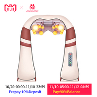 JinKaiRui U Shape Electrical Shiatsu Back Neck Shoulder Massager Body Spa Infrared 4D kneading Massagem Car/ Home Use