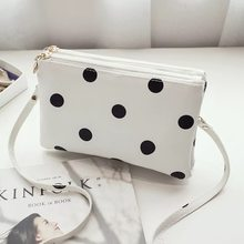 Luxury Handbags Women Bags Designer New Long Clutch Bag Black And White Dot Large Capacity Ladies Shoulder Messenger Bags 2018(China)