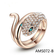 Foreign Trade Expert For Han Feng Jewelry Hand Decorate Major Austria Crystal Rose Gold Blue Snake Eyes Ring
