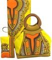 New Arrival Yellow Color Women Wax Hang Bag Matching Wax Fabric Sets Elegant Female Bag African Wax Cloth&designer Handbag Sets