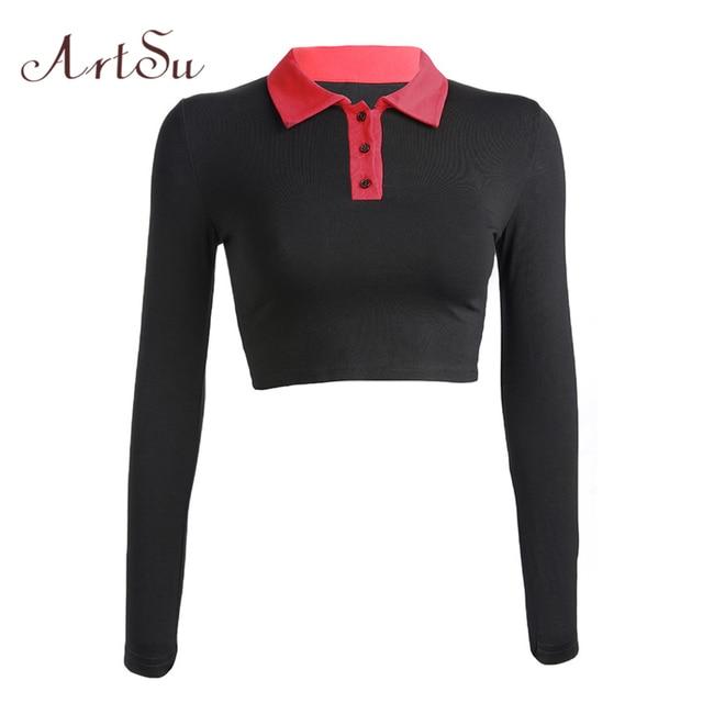 22540b3e2f0 ArtSu Korean Fashion Black White Long Sleeve Shirt Women Tee Shirt  Turn-down Collar Crop