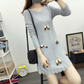 2016 Autumn New Japanese Sweet Casual Long Women Sweaters And Pullovers Bow Computer Knitted Long Sweaters