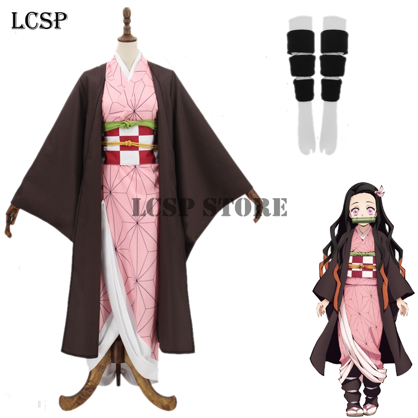 LCSP Demon Slayer : Kimetsu No Yaiba Kamado Nezuko Cosplay Costume Japanese Anime Kimono Full Set Uniform Suit Outfit Clothes