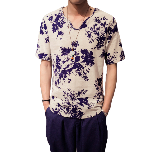 Cotton Linen Casual T Shirt Men Flower Pattern Plus Size 5XL Loose Thin  Mens T-