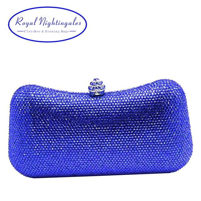 Luxury Royal Blue Hard Case Box Clutch Evening Bag Crystal For Womens Wedding Party