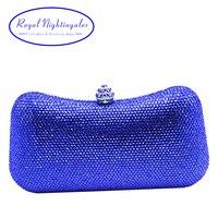Sang trọng của hoàng gia blue hard case box clutch evening bag tinh thể ly hợp túi đối womens wedding đảng evening giày phù hợp với