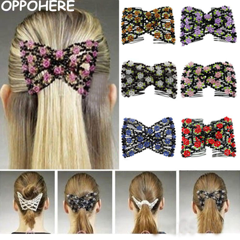 Elegant Women Hair Accessories Exquisite Crystal Rhinestone Barrette Hair Clip Rose Bow Hair Head Double Comb Hair Clip 2017 Hot arcade parts bundles kit with 645 in 1 pandora s box 4 joystick microswitches chrome illuminated buttons for arcade game machine
