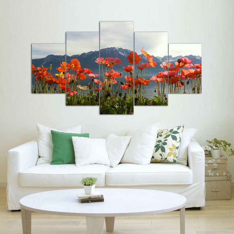 Modern Home Pictures Prints Living Room Deco Oil Painting On Canvas Orange Red Poppy Flower Lake Mountain Flower Painting Ideas Flower Paintings On Canvaspainting Flowers Games Aliexpress