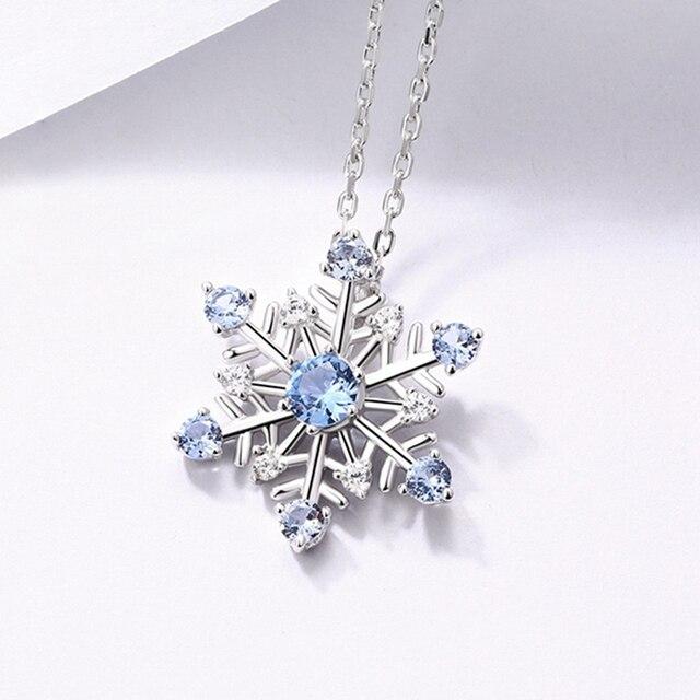 Collier de femmes en pierre gemme de flocon de neige de cadeau de bijoux de livraison directe de balayy en argent de Steling 925 pour le cadeau debay/Amazon/Etsy