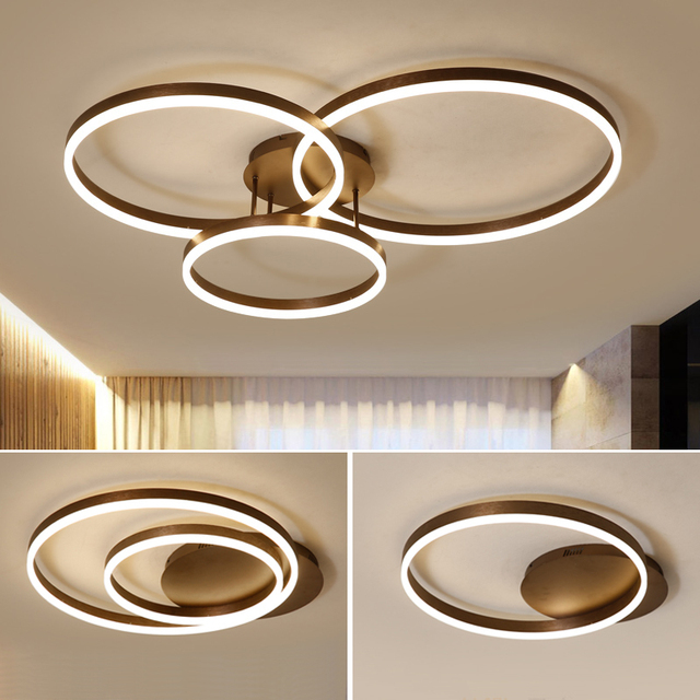 Hot koop Creatieve ringen led kroonluchter plafond voor woonkamer lights bed room ledlamp Bruin moderne kroonluchter verlichtingsarmaturen