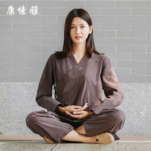 Spring Women Yoga Set Linen Loose Wide Leg Yoga Pants Yoga Shirts Martial Arts Kungfu Meditation Tai Chi Uniforms Yoga Clothing autumn men yoga set tai chi kungfu clothes cotton linen chinese traditional loose shirt pant meditation martial arts uniforms