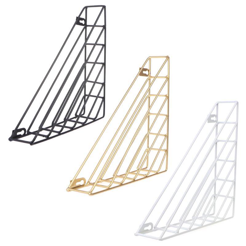 Nordic Geometric Iron Magazine Storage Rack Wall Basket Home Organizer Decor New