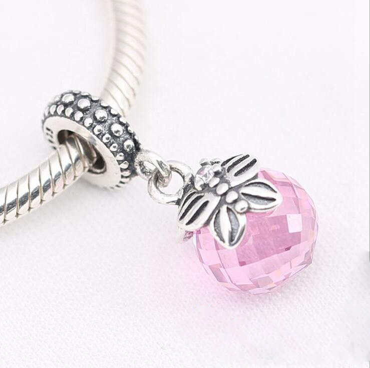 fb2b980f2 925 Sterling Silver Pink morning butterfly pendant Fits Pandora original  charm bracelet charm jewelry DIY wholesale