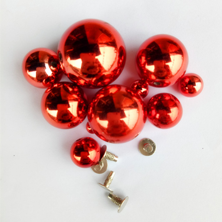 Gold Red Pearl Phere Acrylic Ball Beads Rivets Cap Stud For Hat, Shoe,jeans Leather Chocker Decoration Diy Accessory
