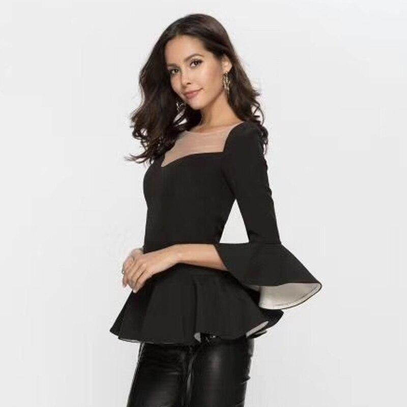 À Mince Taille Couture Volants Blouse Haute Pour Chemisier Femmes Shirt Manches De Chemise Plus Black Noir Évasée La Tops Oxant wXqBvfv