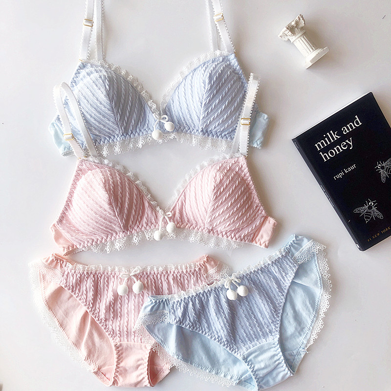 Wriufred Cute Sleepwear Twist Cotton Underwear   Sets   Triangle Cup   Bra     Set   Sexy lingerie Plus Size   Bras   Women Lace Brassiere   Set