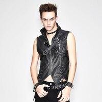 Punk Men's Black Waist Coat PU Leather Vest Zipper Metal Decoration Cross Ropes Male's Fashion Wearing