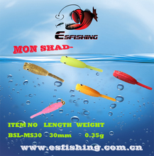 12pcs 3cm/0.35g Esfishing Mon Shad 1.2″ Fishing Lures Soft Lures Silicone Bait Ice Fishing Swimbait Tackle  Jerk Shine