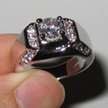 Men's Women's Silver Round Simulated Diamond with CZ Side Stone Ring Size 9, 10, 11