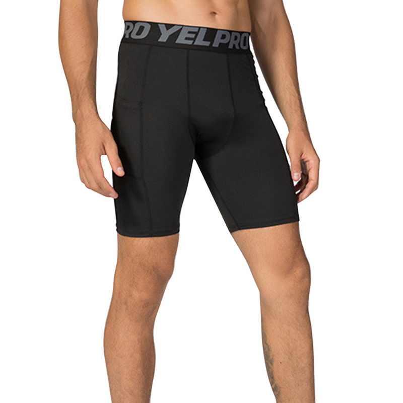 HEFLASHOR 2019 marka mężczyźni spodenki kompresyjne męskie krótkie spodnie do ćwiczeń szybkoschnący Fitness Workout lato spodenki do joggingu